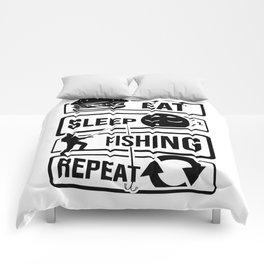 Eat Sleep Fishing Repeat - Fishing Fisherman Comforters