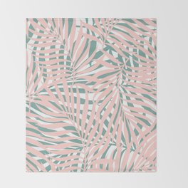 Tropical Green and Pink, Summer Palm Leaves Pattern Throw Blanket