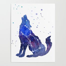 Galaxy Wolf Lupus Constellation Poster