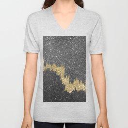 Chic black gold glitter abstract brushstrokes Unisex V-Neck