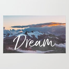 Dreams - Mountains Landscape and Typography Rug