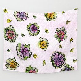 Watercolor Flower Pattern Wall Tapestry