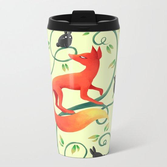 Bunnies and a Fox Metal Travel Mug