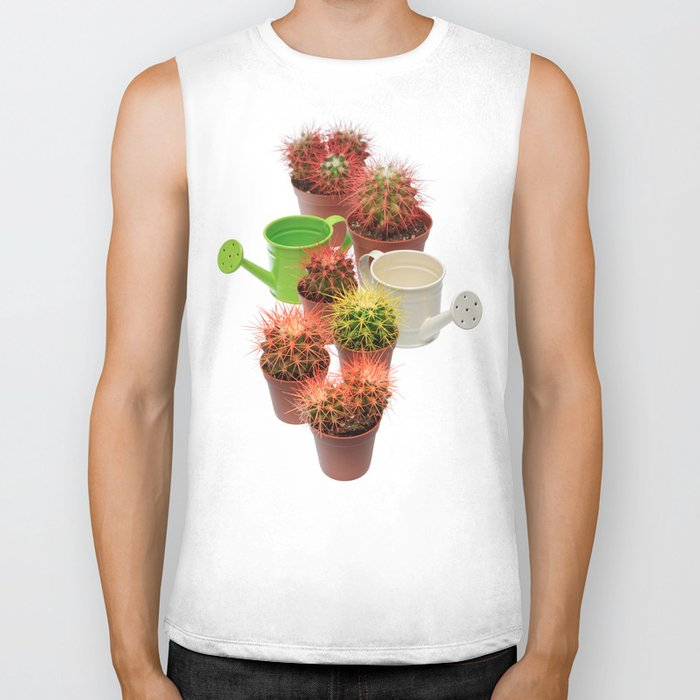 Bunch of multicolor cactuses and watering cans Biker Tank