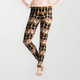 Mid Century Modern Liquid Watercolor Abstract // Gold, Blush Pink, Brown, Black, White Leggings