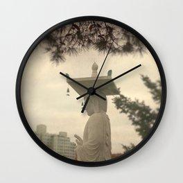 Buddha in a Korean Garden Wall Clock