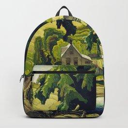 Farm Haliburton oil on hardboard 1940 Franklin Carmichael Canadian artist Art Nouveau Post-Impressio Backpack