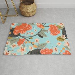 Vintage Floral Print Rug