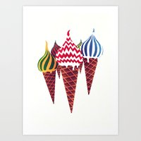 moscow Art Prints featuring Summer in Moscow by Yetiland