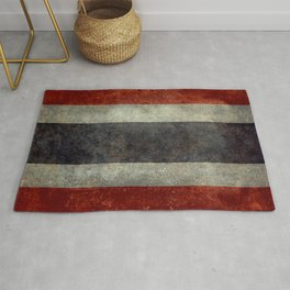 The National flag of Thailand, (formerly known as Siam) To scale Vintage version Rug