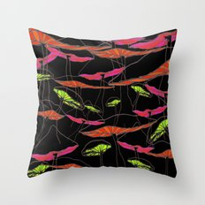 forest of the magic mushrooms at night  Throw Pillow
