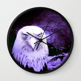 Art print: The Bald Eagle, the barbwire and the Blue flag Iris. Wall Clock