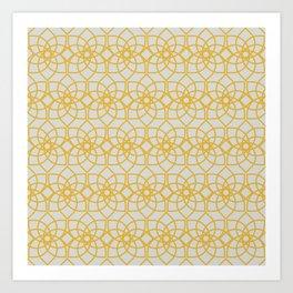 Geometric Flower Repeating Digital Pattern Design - Goldenrod Art Print