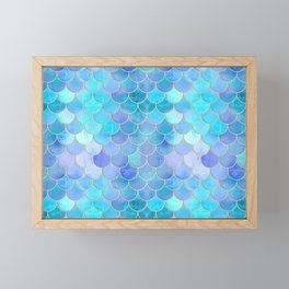 Aqua Pearlescent & Gold Mermaid Scale Pattern Framed Mini Art Print