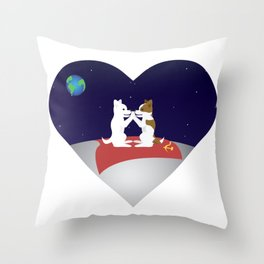 Belka and Strelka on the moon Throw Pillow