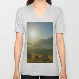 lake wanaka covered in blue colors new zealand beauties and mountains at sunrise person Unisex V-Neck