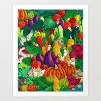 danny ivan Art Prints featuring Nice People Eat Vegetables - background (Made with Danny Ivan) by Lidija Paradinović Nagulov - Celandine