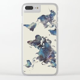 world map 124 blue  #worldmap #map Clear iPhone Case