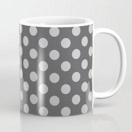 Large Polka Dots in Light Gray on Charcoal Gray Coffee Mug