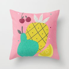 Tropical Fruits Throw Pillow