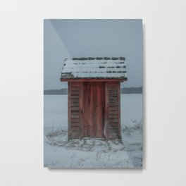Snow Covered Outhouse Rural Michigan Winter Field Metal Print