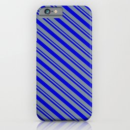 Blue and Light Slate Gray Colored Stripes Pattern iPhone Case
