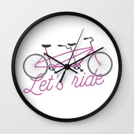 Let's Ride Tandem Bicycle - Purple Wall Clock