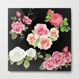 floral pattern black background. Metal Print