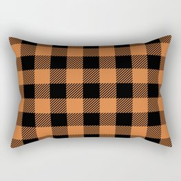 Buffalo Plaid - Orange & Black Rectangular Pillow