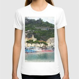 Beach umbrellas by the Amalfi beach T-shirt