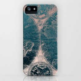 Antique Map Rose Gold Navy Blue iPhone Case