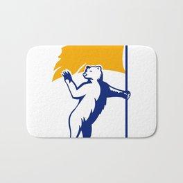 Polar Bear Holding Flag Waving Mascot Bath Mat