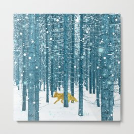 A Golden Fox In The Wild Metal Print