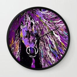 Horse Oil Painting Deep Purple Wall Clock