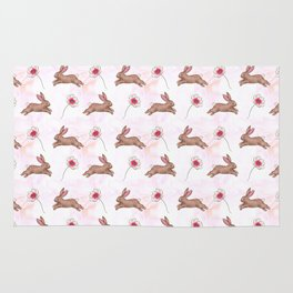 Easter bunny watercolor pattern Rug