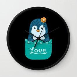 little penguin inside the pocket Wall Clock