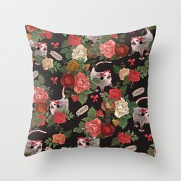 Opossum Floral Pattern (with text) Throw Pillow