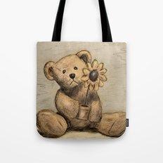 Teddybear with a sunflower Tote Bag