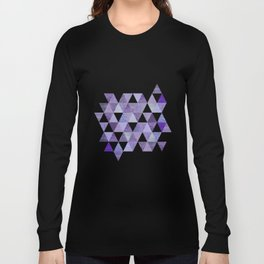 Glamorous Purple Faux Glitter And Foil Triangles Long Sleeve T-shirt