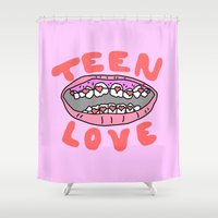 teen titans Shower Curtains featuring Teen Love by Tyler Spangler