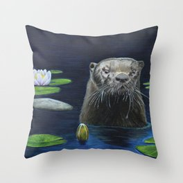 The River Otter by Teresa Thompson Throw Pillow