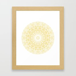 White Lace Mandala on Sunshine Yellow Background Framed Art Print