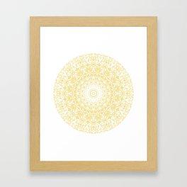 White Lace Mandala on Sunshine Yellow Background Framed Art Print