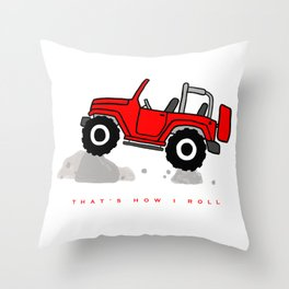That's how I roll - Red Jeep Throw Pillow