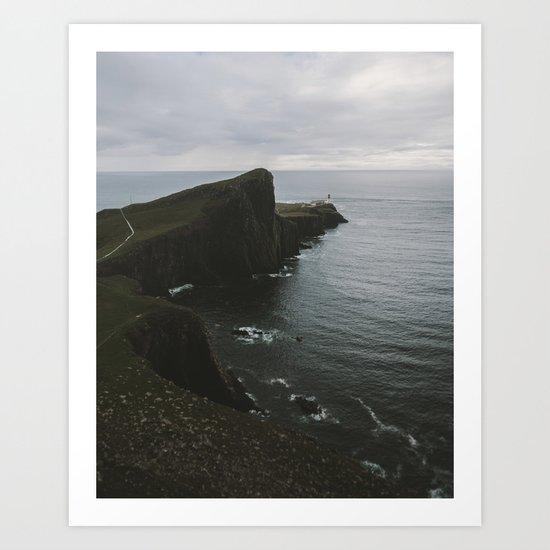 Neist Point Lighthouse at the Atlantic Ocean - Landscape Photography Art Print