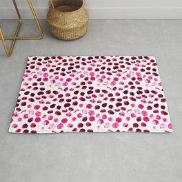 Modern pink polka dots hand painted illustration pattern Rug