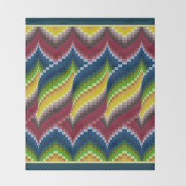 Bargello Quilt Pattern Impression 3 - red, blue, green, gold, ombre Throw Blanket