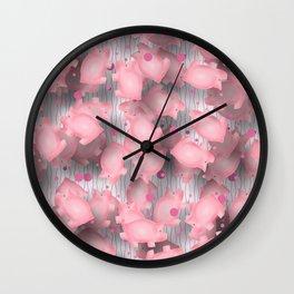 Pink Piggies Wall Clock