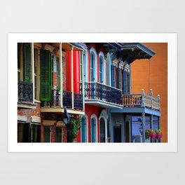 Colorful French Quarter Row Homes Art Print