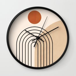Abstraction_NEW_SUN_DAWN_MOUNTAINS_LINE_POP_ART_008B Wall Clock